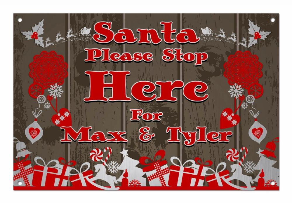 Personalised Santa Please Stop Here Aluminium Metal Sign